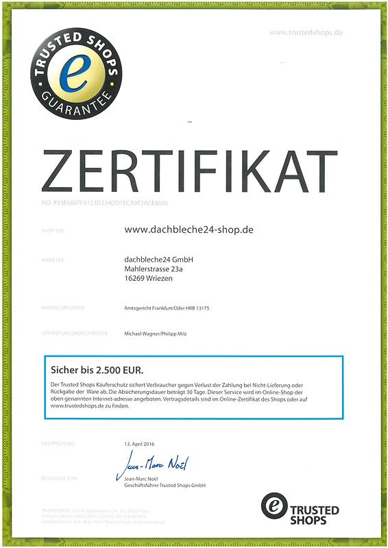 dachbleche24-shop.de ist nun von Trusted Shops zertifiziert!