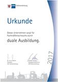 Urkunde Fachkräftenachwuchs Duale Ausbildung