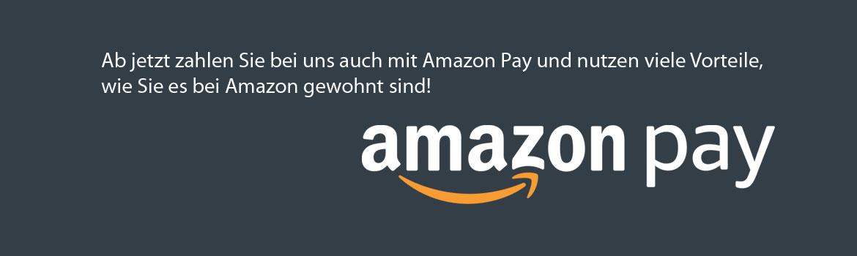 Ab jetzt zahlen Sie bei uns auch mit Amazon Pay und nutzen viele Vorteile, wie Sie es bei Amazon gewohnt sind!