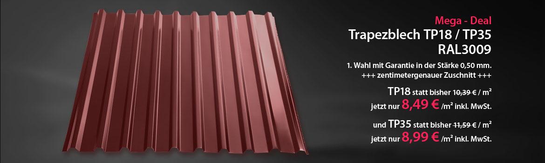 Mega-Deal - Trapezblech TP18 / TP35 RAL3009 1. Wahl mit Garantie in der Stärke 0,50 mm