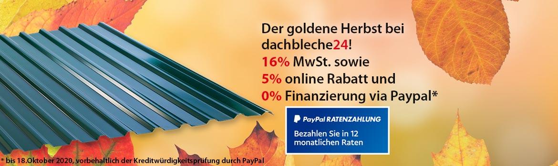 16% MwSt. sowie 5% online Rabatt und 0% Finanzierung via Paypal. Der goldene Herbst bei  dachbleche24